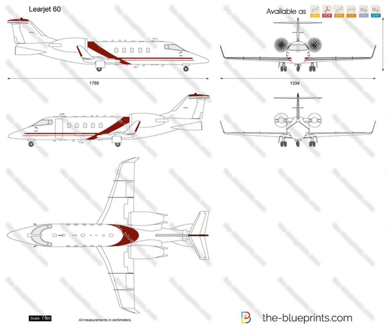 Learjet 60 vector drawing