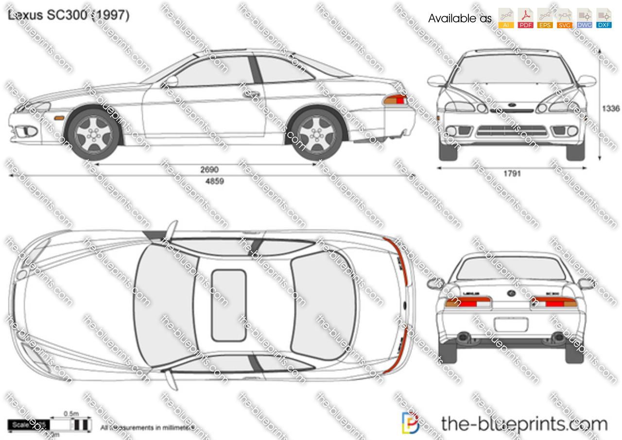 Lexus SC300 vector drawing