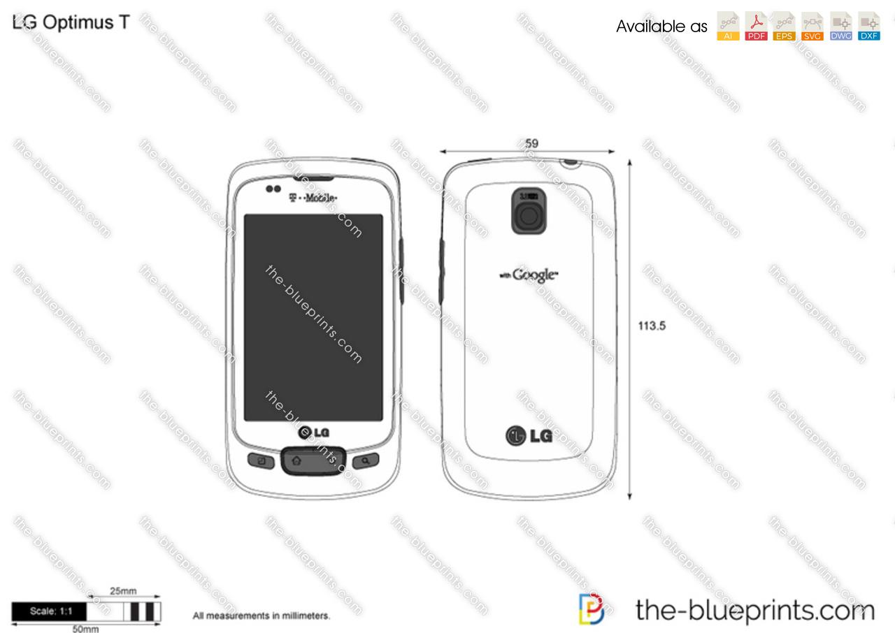 LG Optimus T vector drawing
