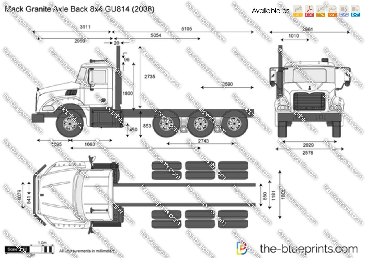Mack Granite Axle Back 8x4 Gu814 Vector Drawing