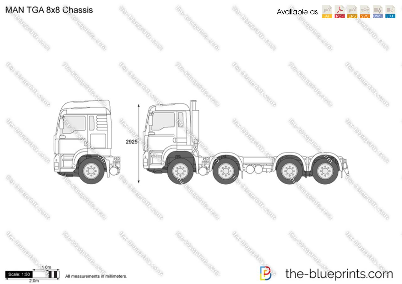 Man Tga 8x8 Chassis Vector Drawing