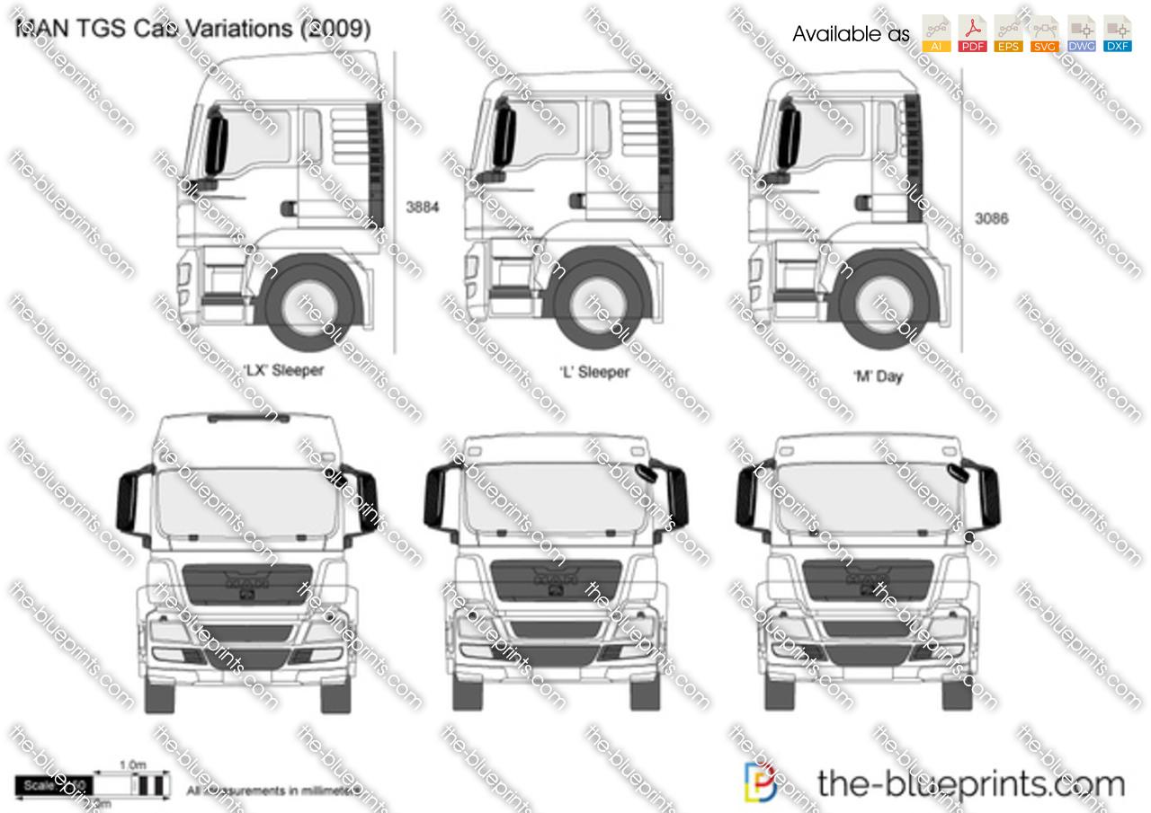 Man Tgs Cab Variations Vector Drawing