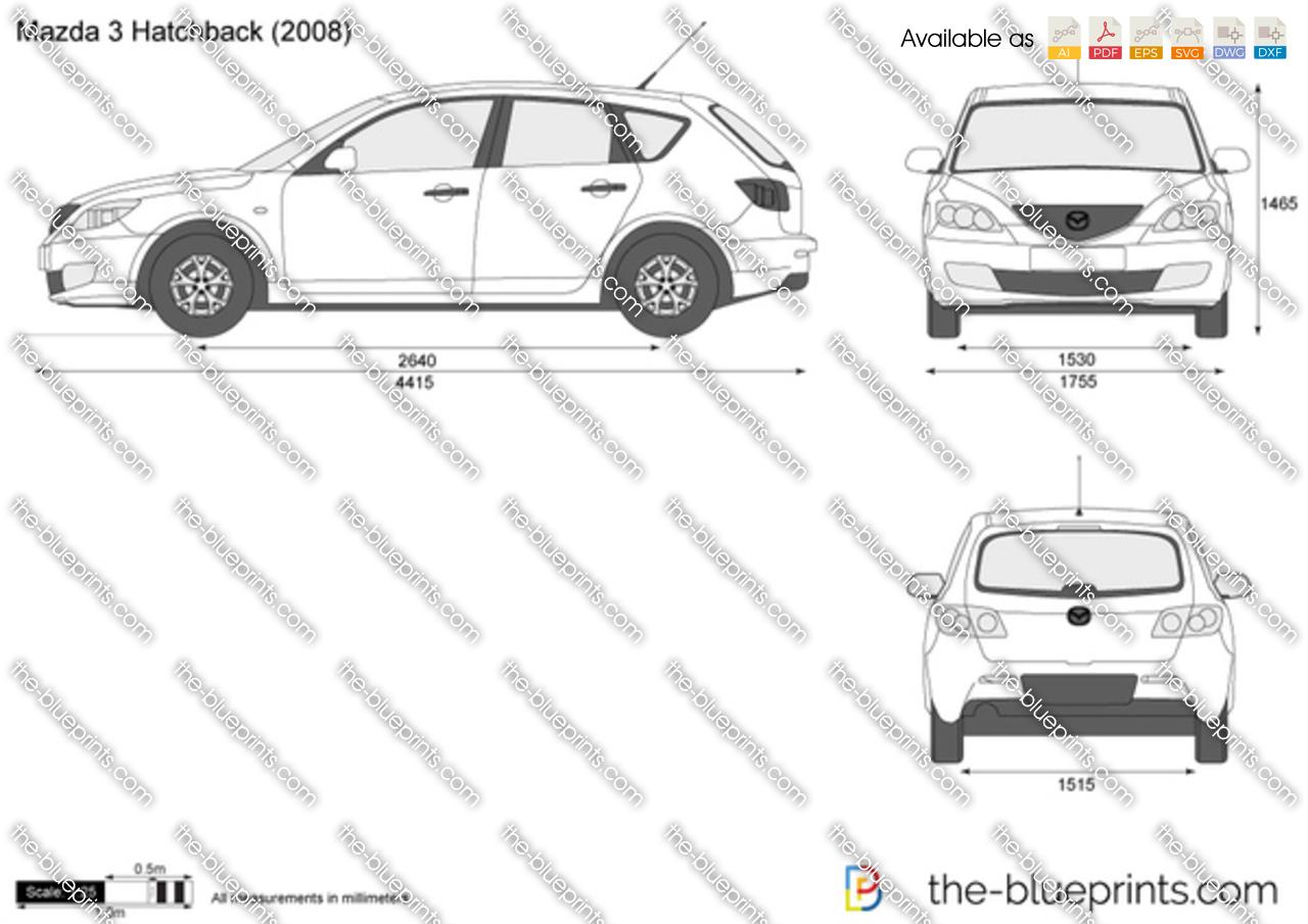 Mazda 3 Hatchback vector drawing