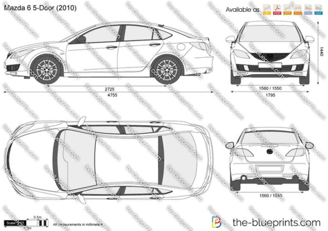 Mazda 6 5-Door vector drawing