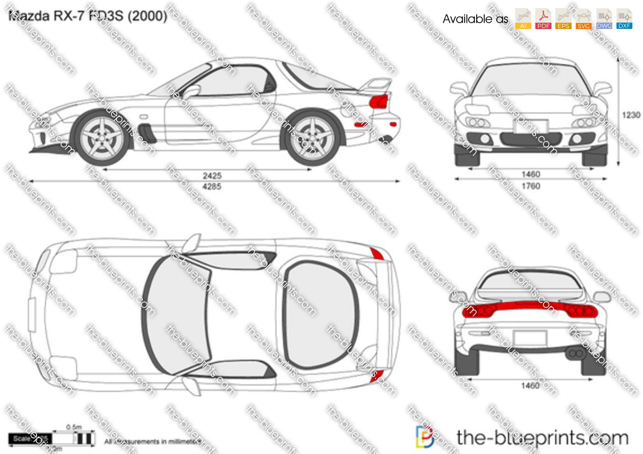 Mazda RX-7 FD3S vector drawing