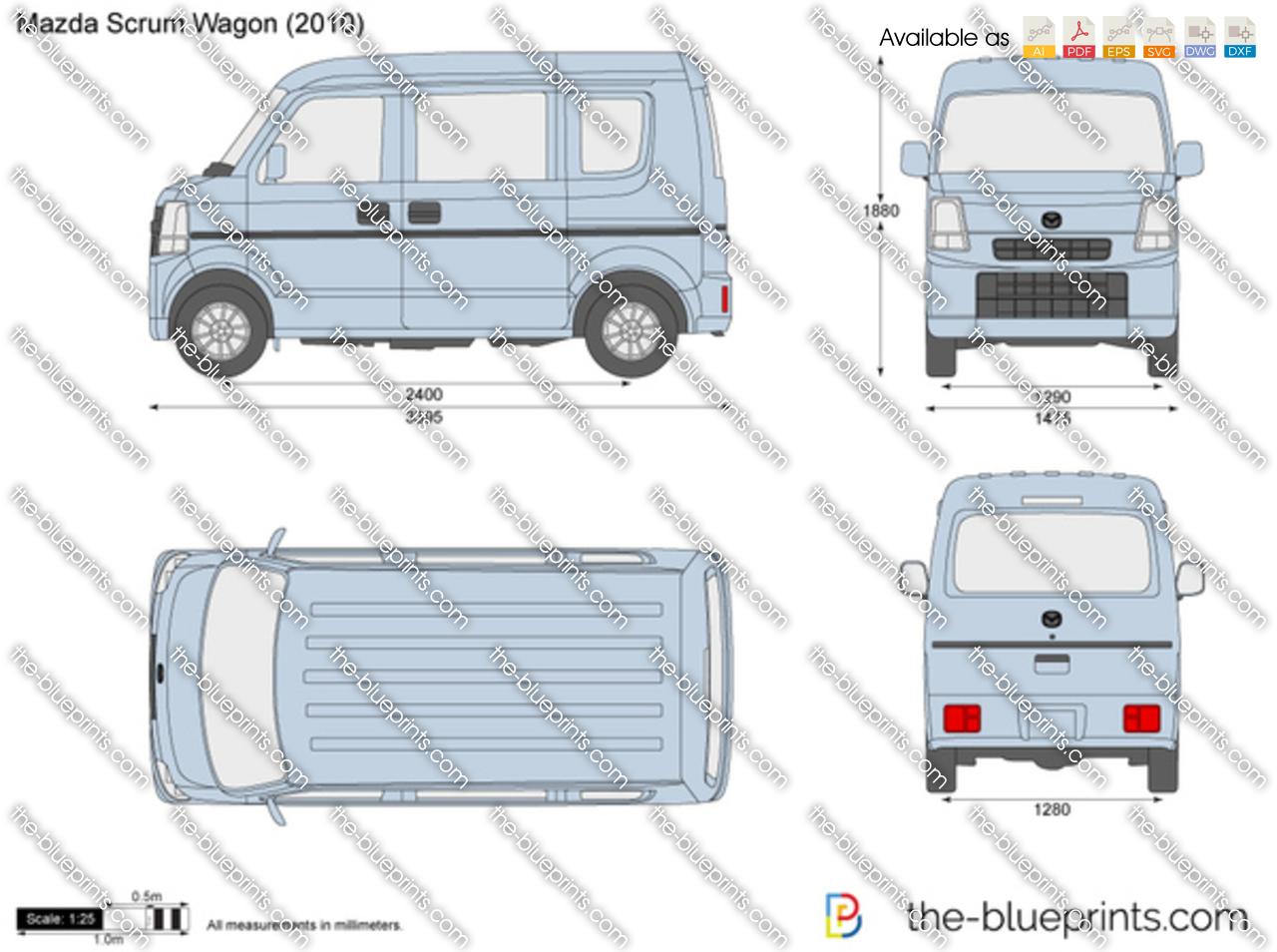 Mazda Scrum Wagon vector drawing