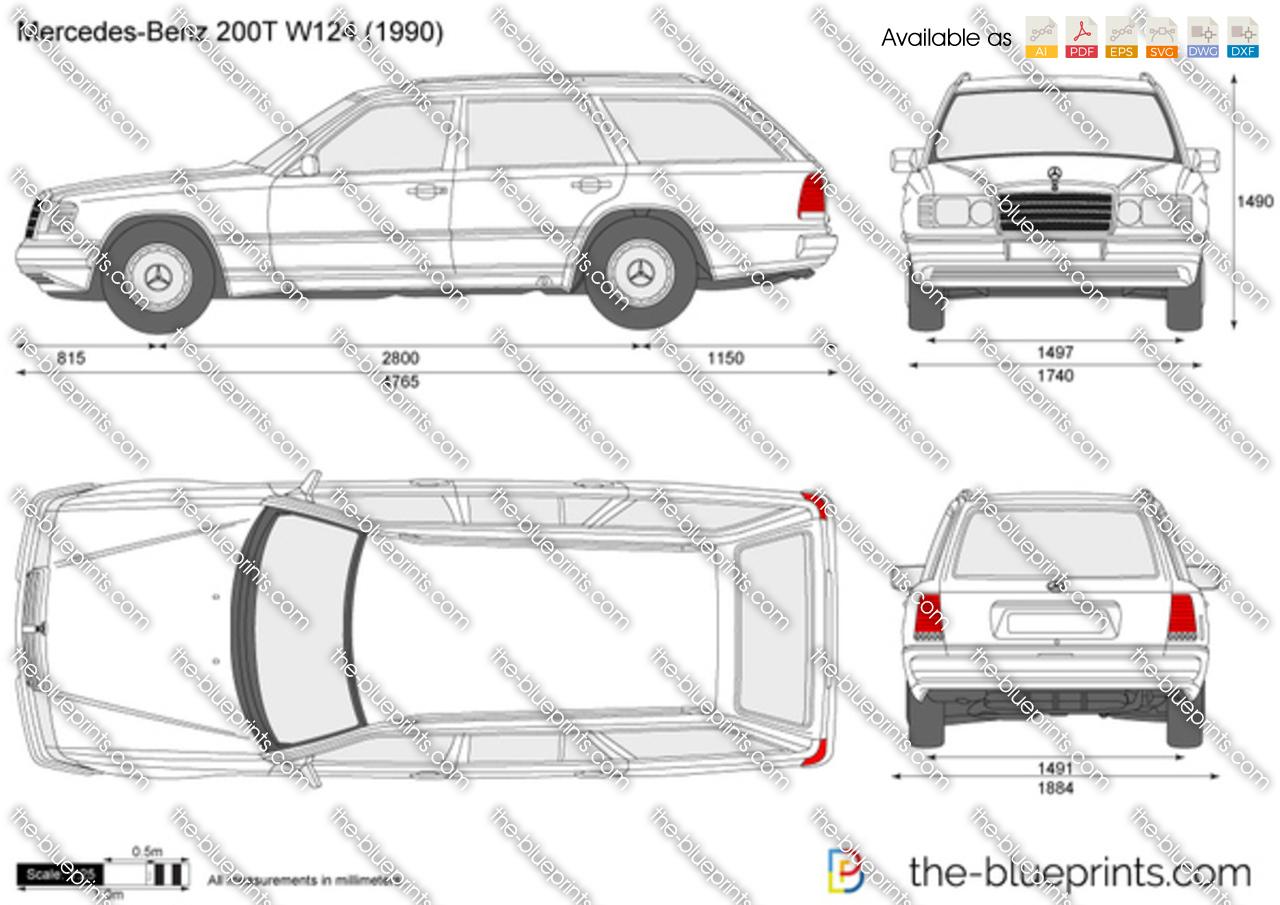 Mercedes-Benz 200T W124 vector drawing