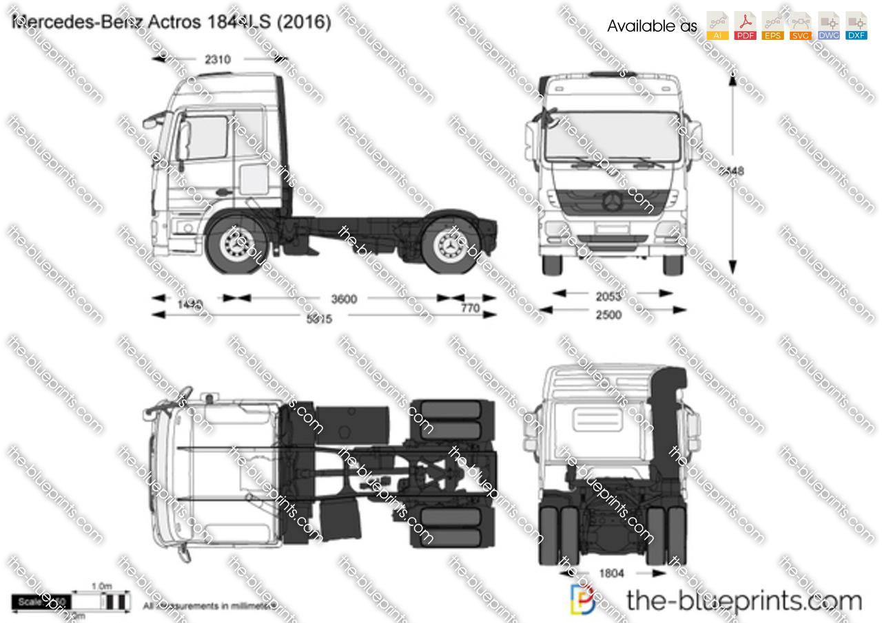 Mercedes-Benz Actros 1844LS vector drawing