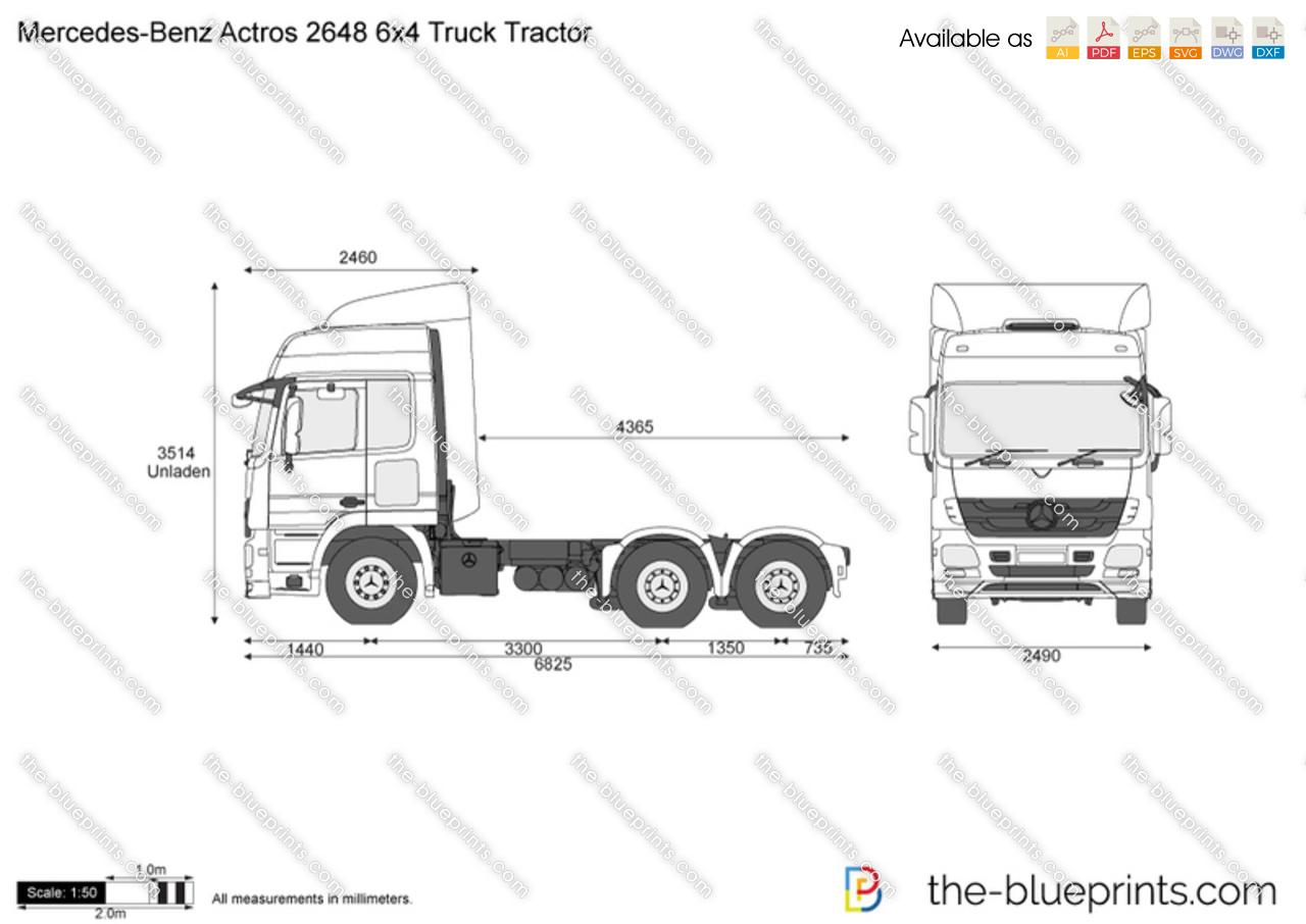 Mercedes-Benz Actros 2648 6x4 Truck Tractor vector drawing
