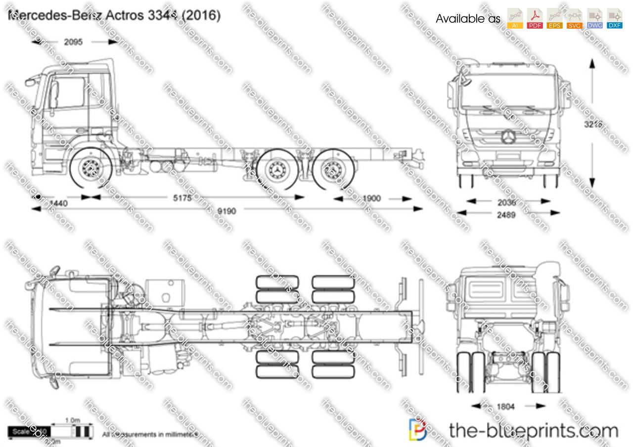 Mercedes-Benz Actros 3344 vector drawing
