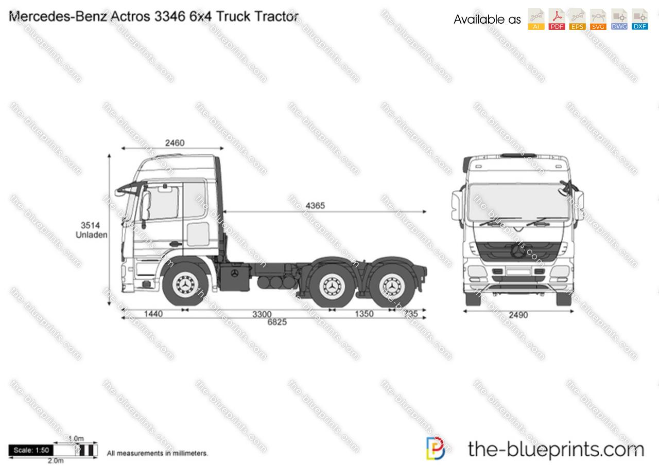 Mercedes-Benz Actros 3346 6x4 Truck Tractor vector drawing