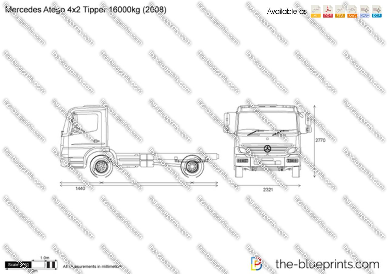 Mercedes Benz Atego 4x2 Tipper Kg Vector Drawing