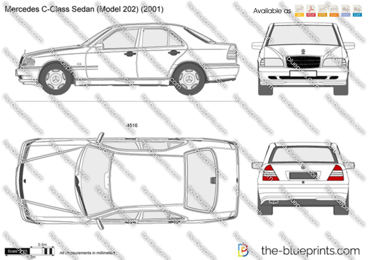 Mercedes-Benz C-Class Sedan W202 vector drawing