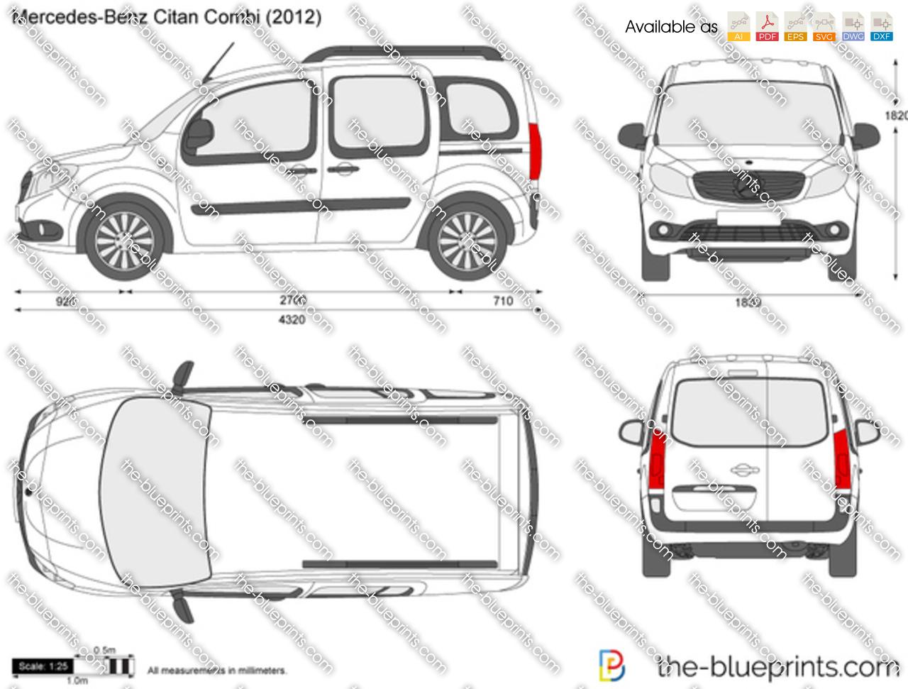 Mercedes-Benz Citan Combi vector drawing