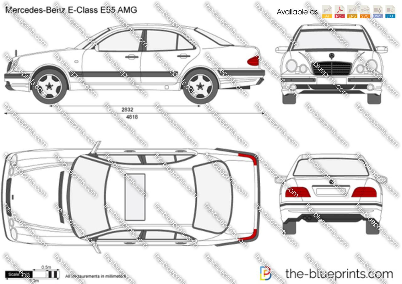 Mercedes-Benz E-Class E55 AMG vector drawing