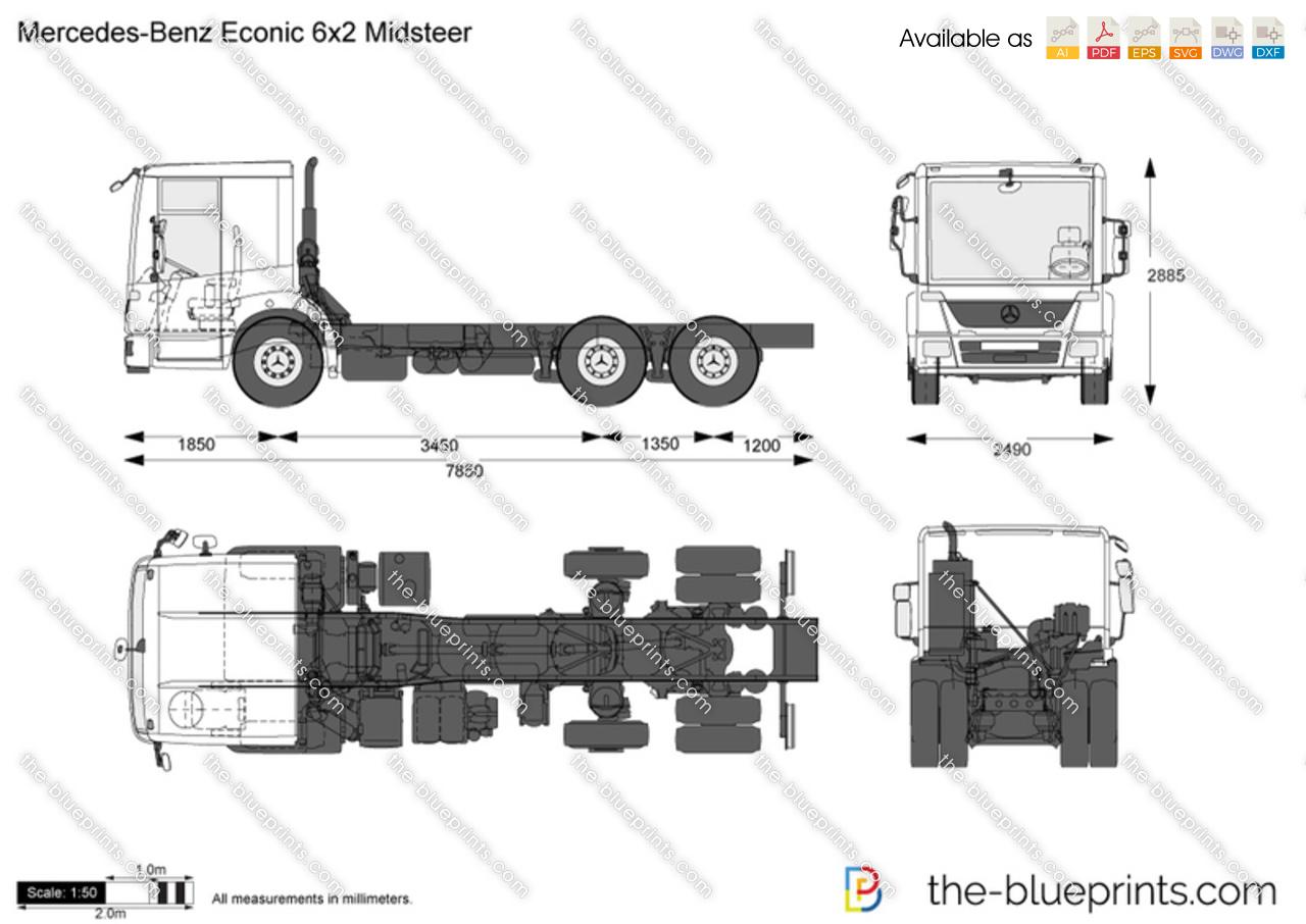Mercedes-Benz Econic 6x2 Midsteer vector drawing