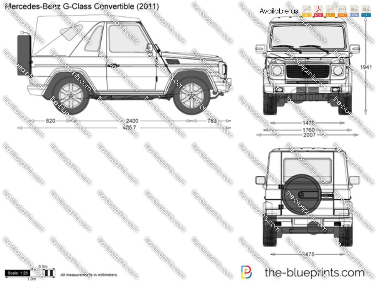 Mercedes Benz G Class Convertible Vector Drawing