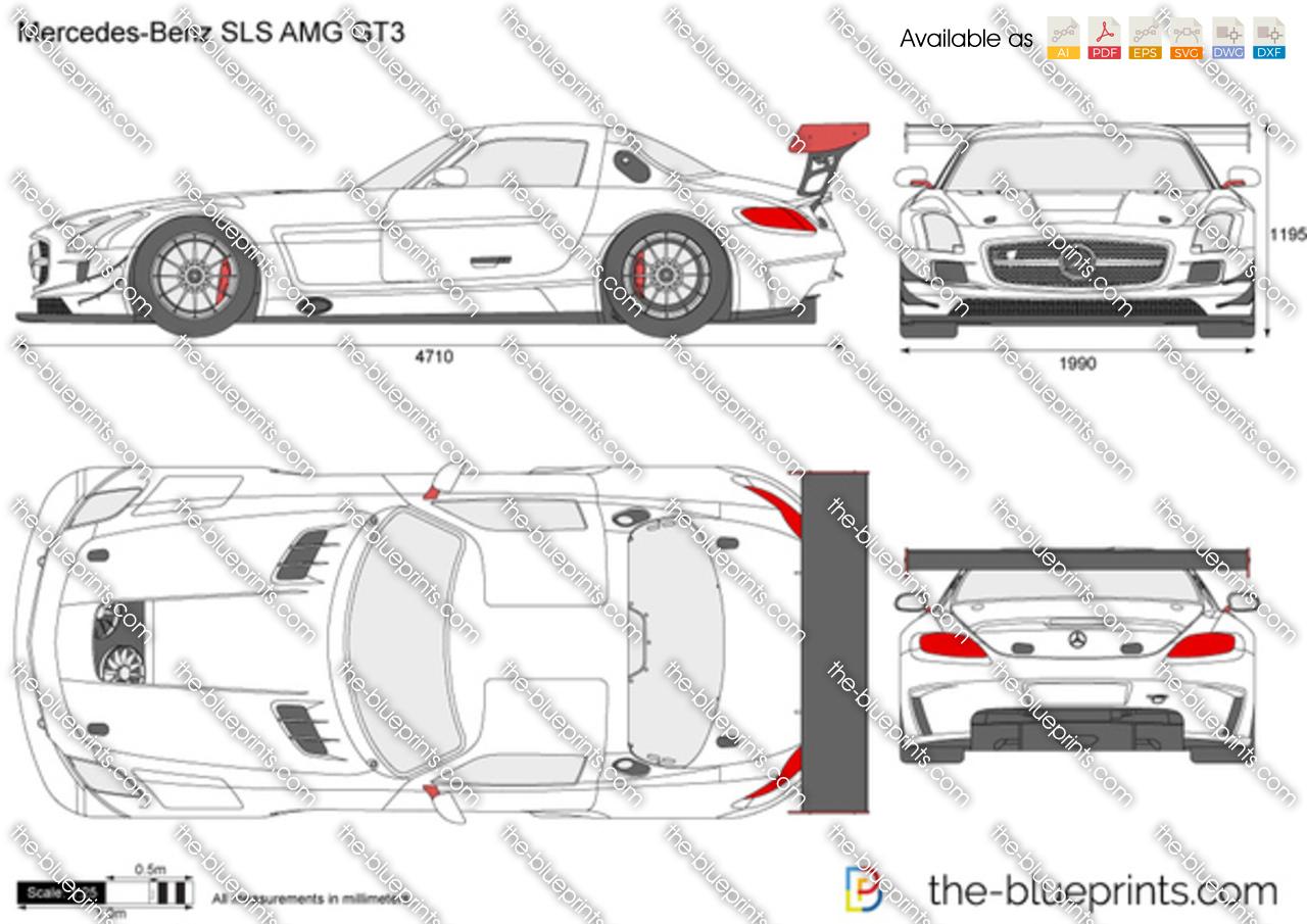 Mercedes Benz Sls Amg Gt3 Vector Drawing