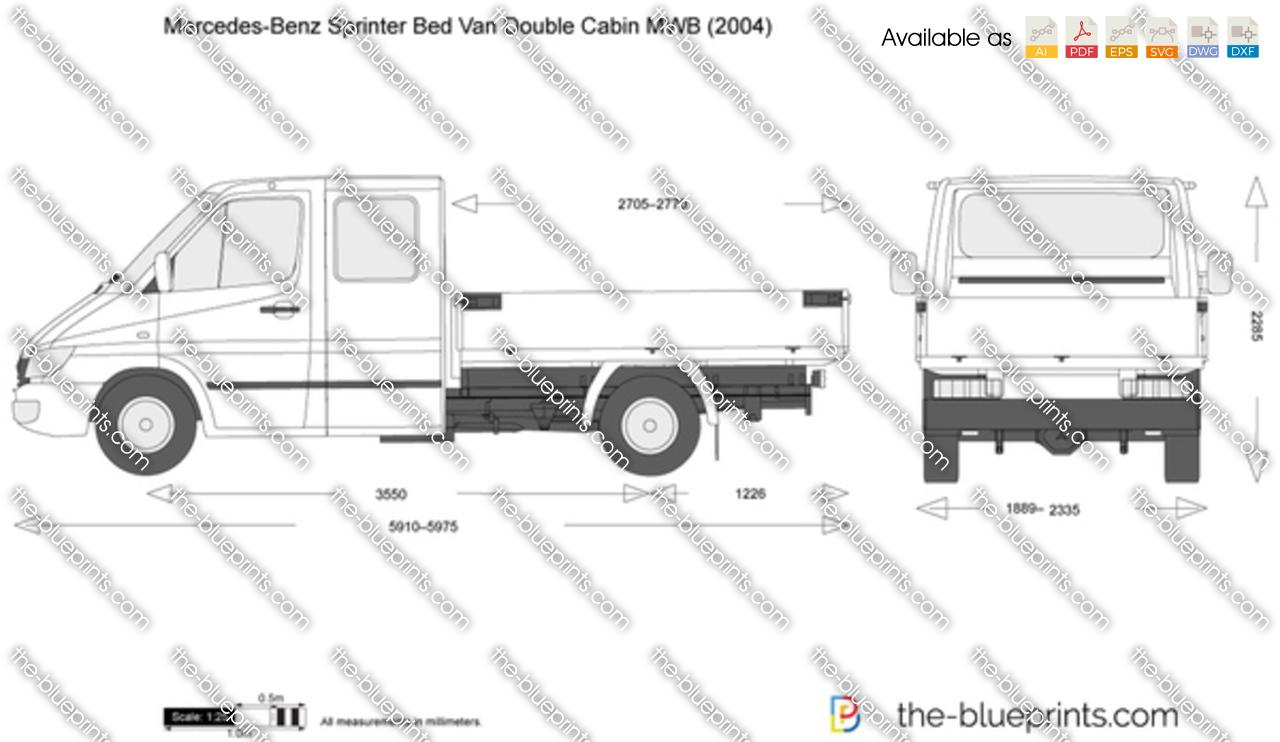 Mercedes-Benz Sprinter Bed Van Double Cabin MWB vector drawing