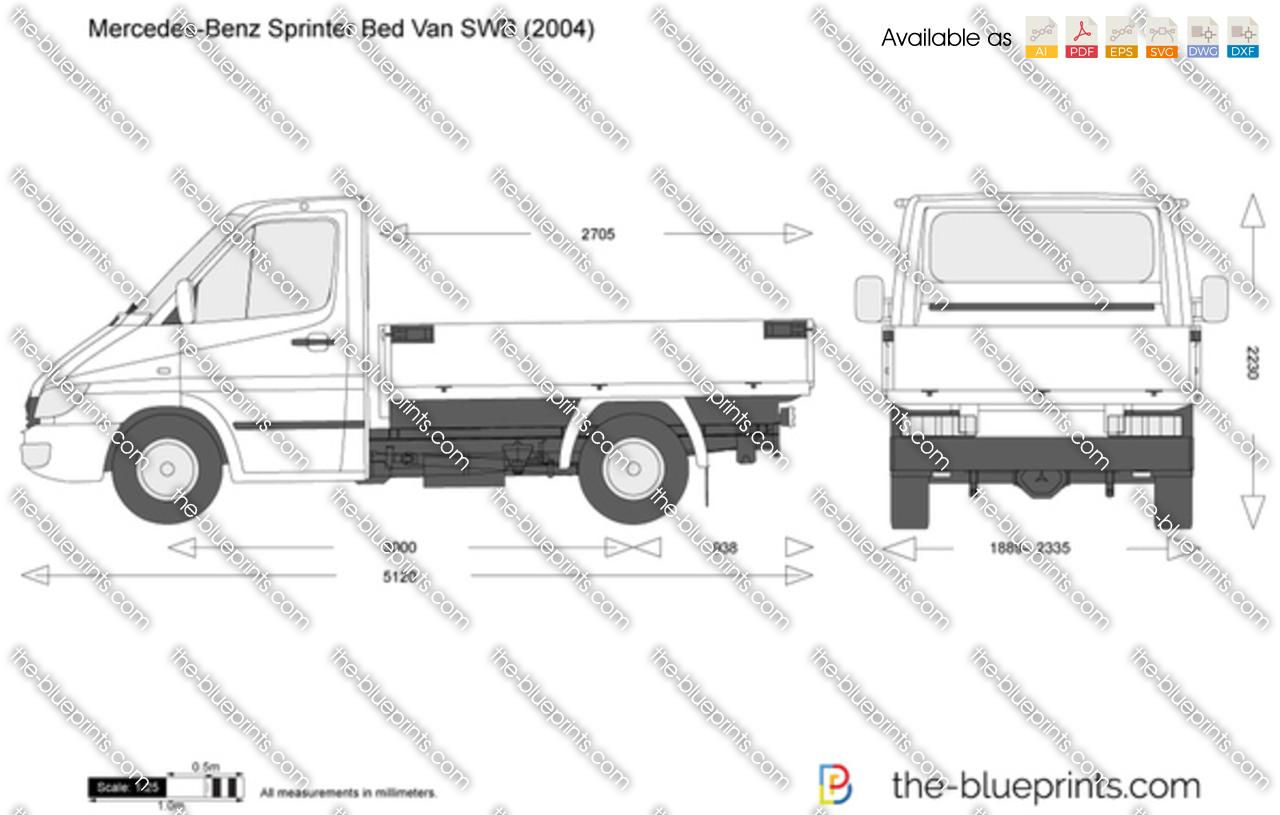 Mercedes-Benz Sprinter Bed Van SWB vector drawing