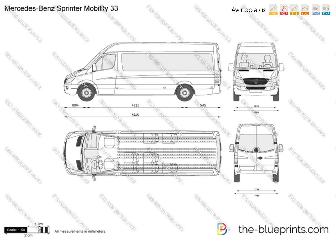 Mercedes Benz Sprinter Mobility 33 Vector Drawing
