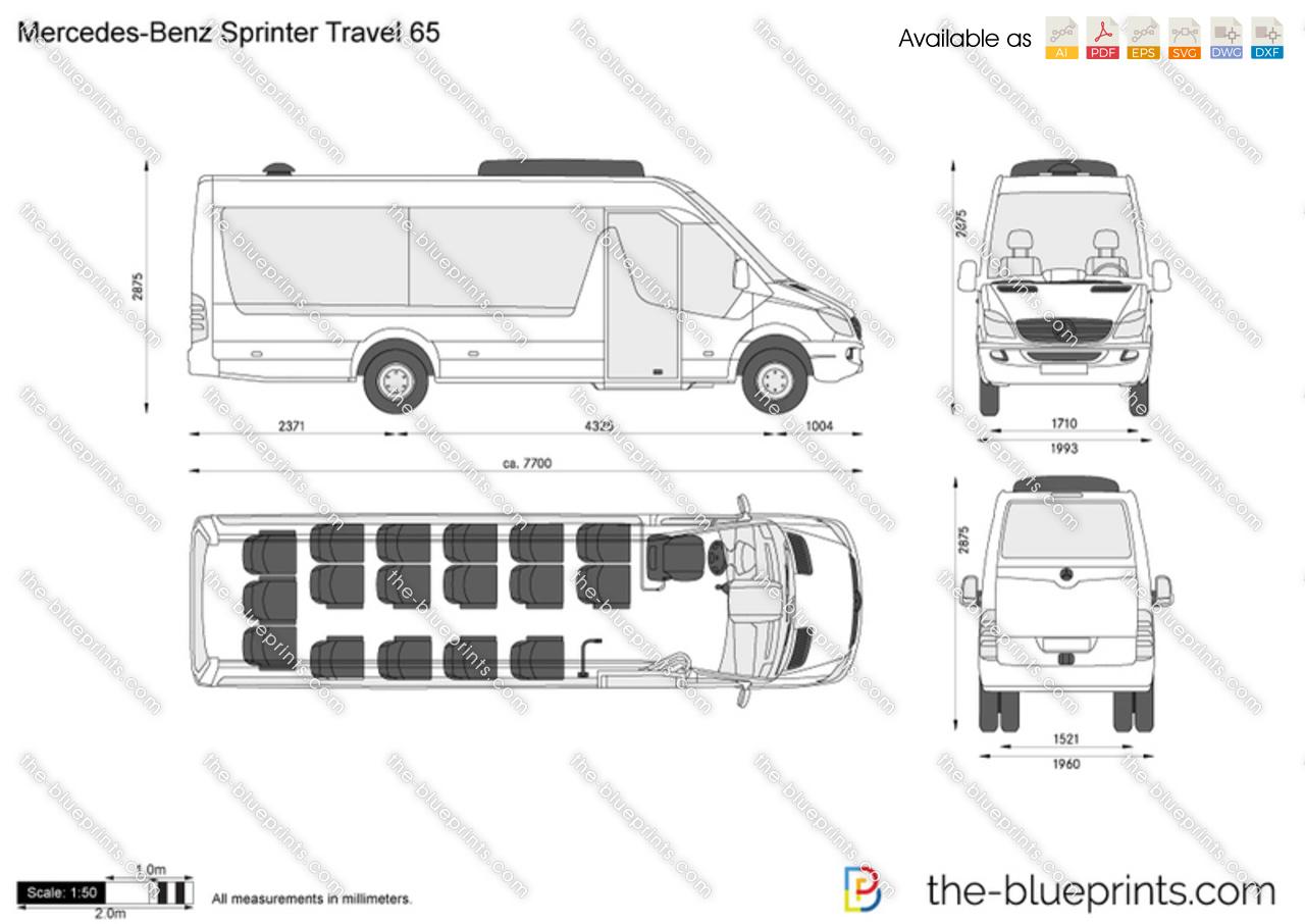 Mercedes Benz Sprinter Travel 65 Vector Drawing