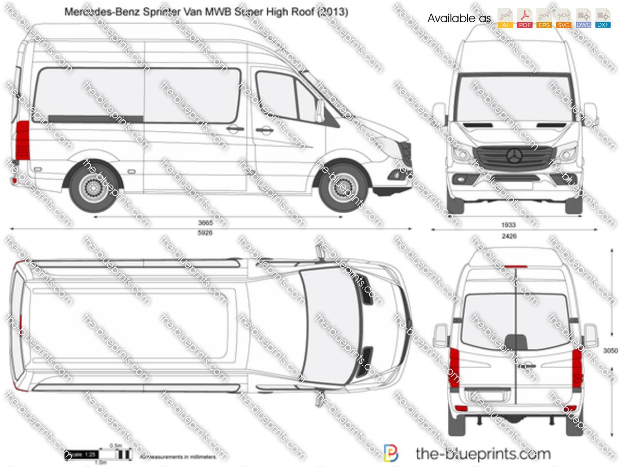 Mercedes-Benz Sprinter Van MWB Super High Roof vector drawing