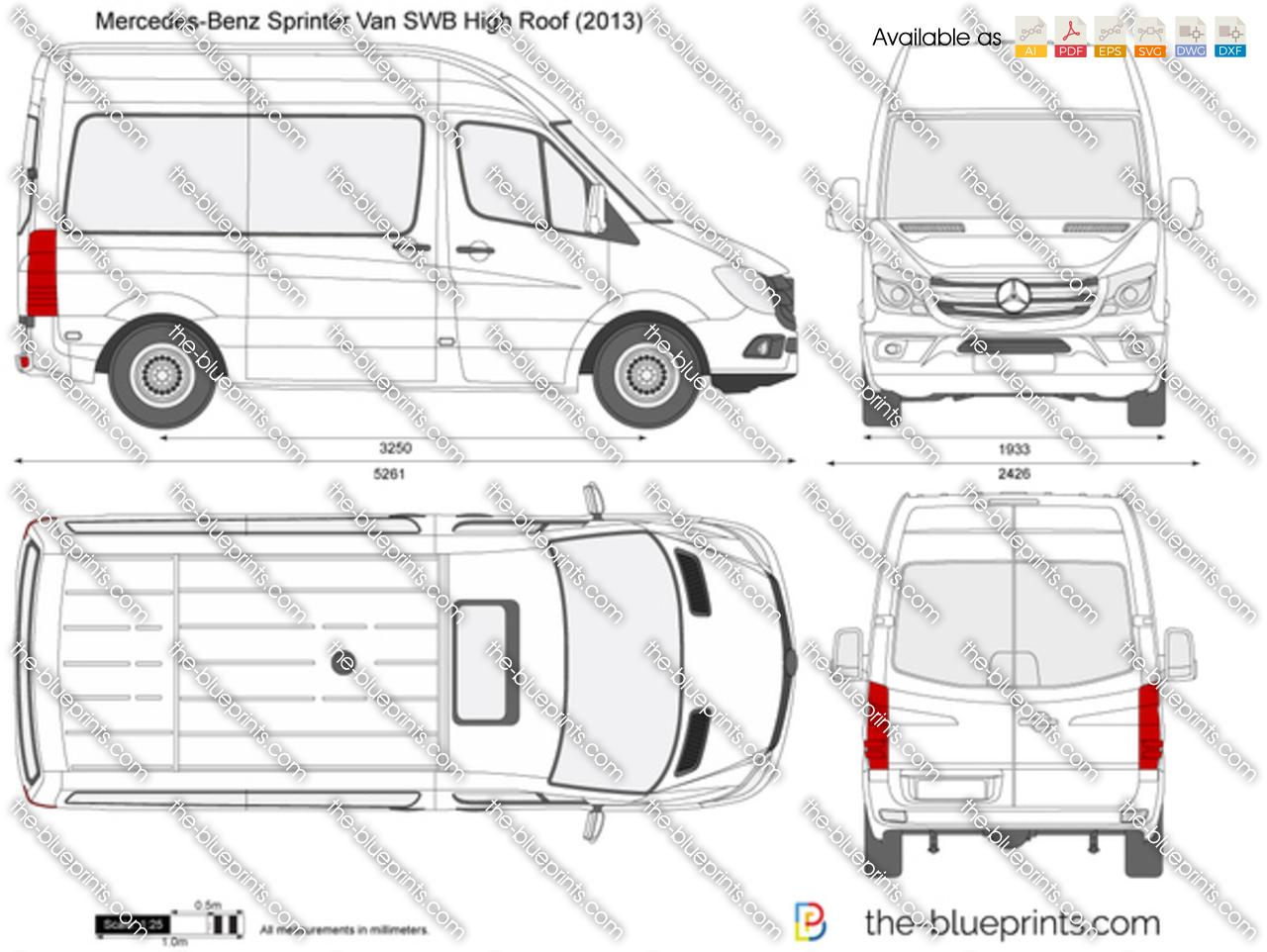 Mercedes Benz Sprinter Van Swb High Roof Vector Drawing