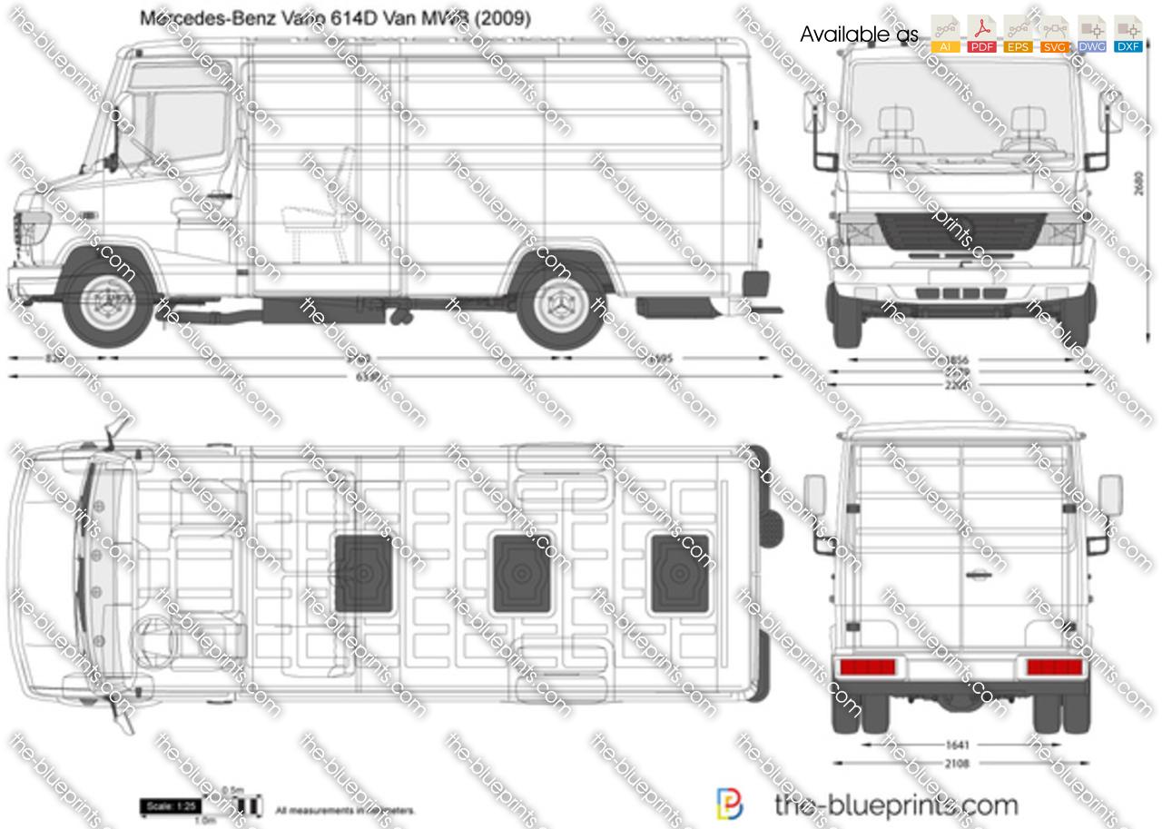 Mercedes-Benz Vario 614D Van MWB vector drawing