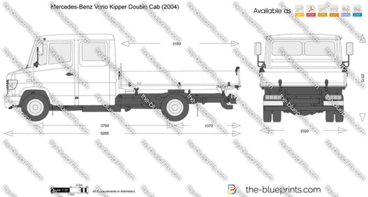 Mercedes-Benz Vario Kipper Double Cab vector drawing
