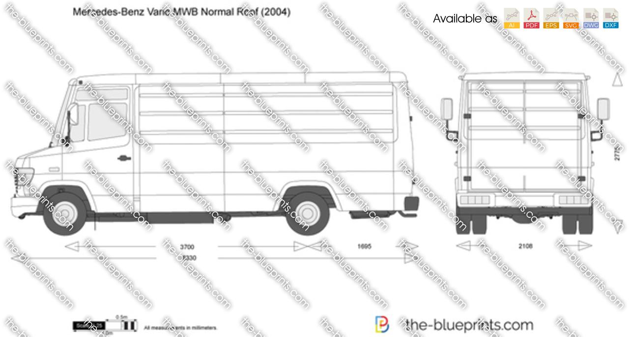 Mercedes-Benz Vario MWB Normal Roof vector drawing