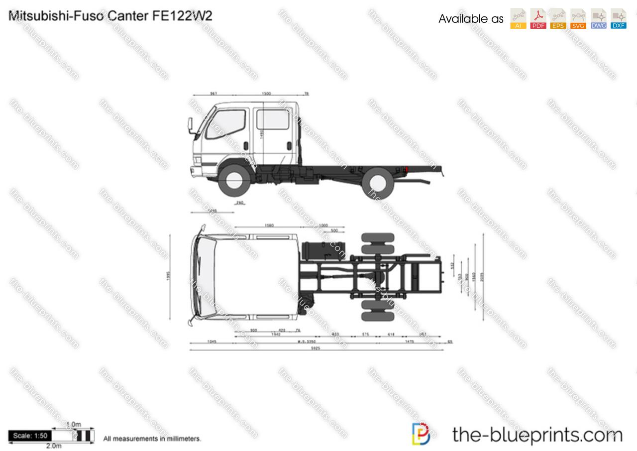 Mitsubishi Fuso Canter Fe122w2 Vector Drawing