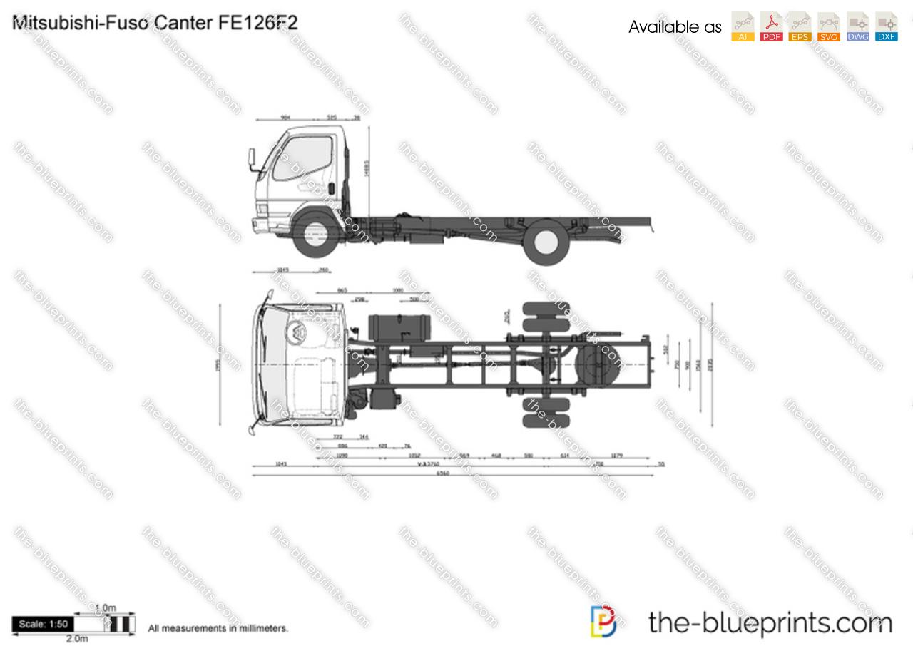 Mitsubishi Fuso Canter Fe126f2 Vector Drawing