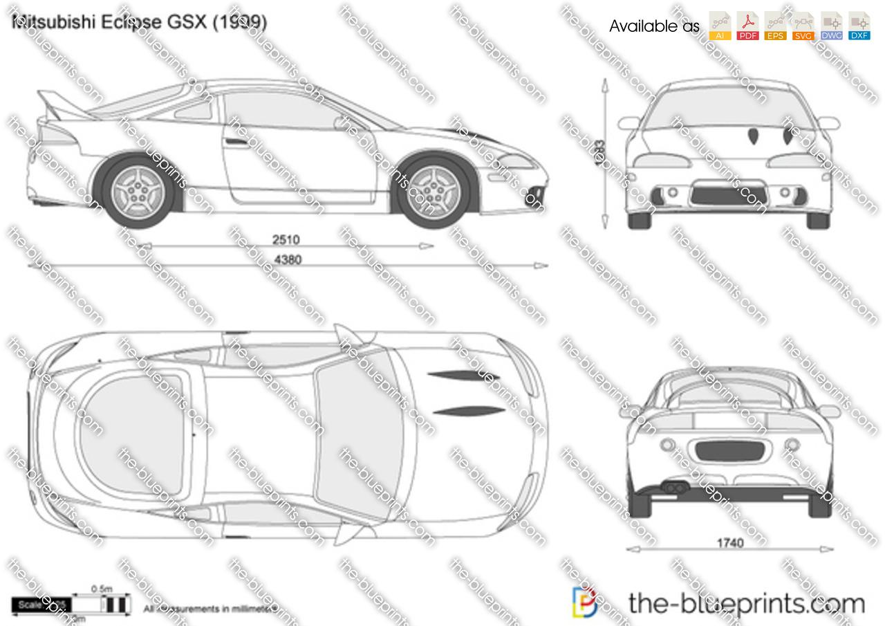 Mitsubishi Eclipse Gsx Vector Drawing
