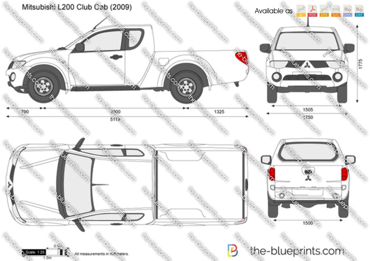 Mitsubishi L200 Club Cab vector drawing