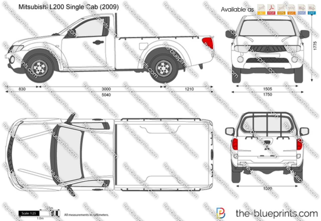 Mitsubishi L200 Single Cab Vector Drawing