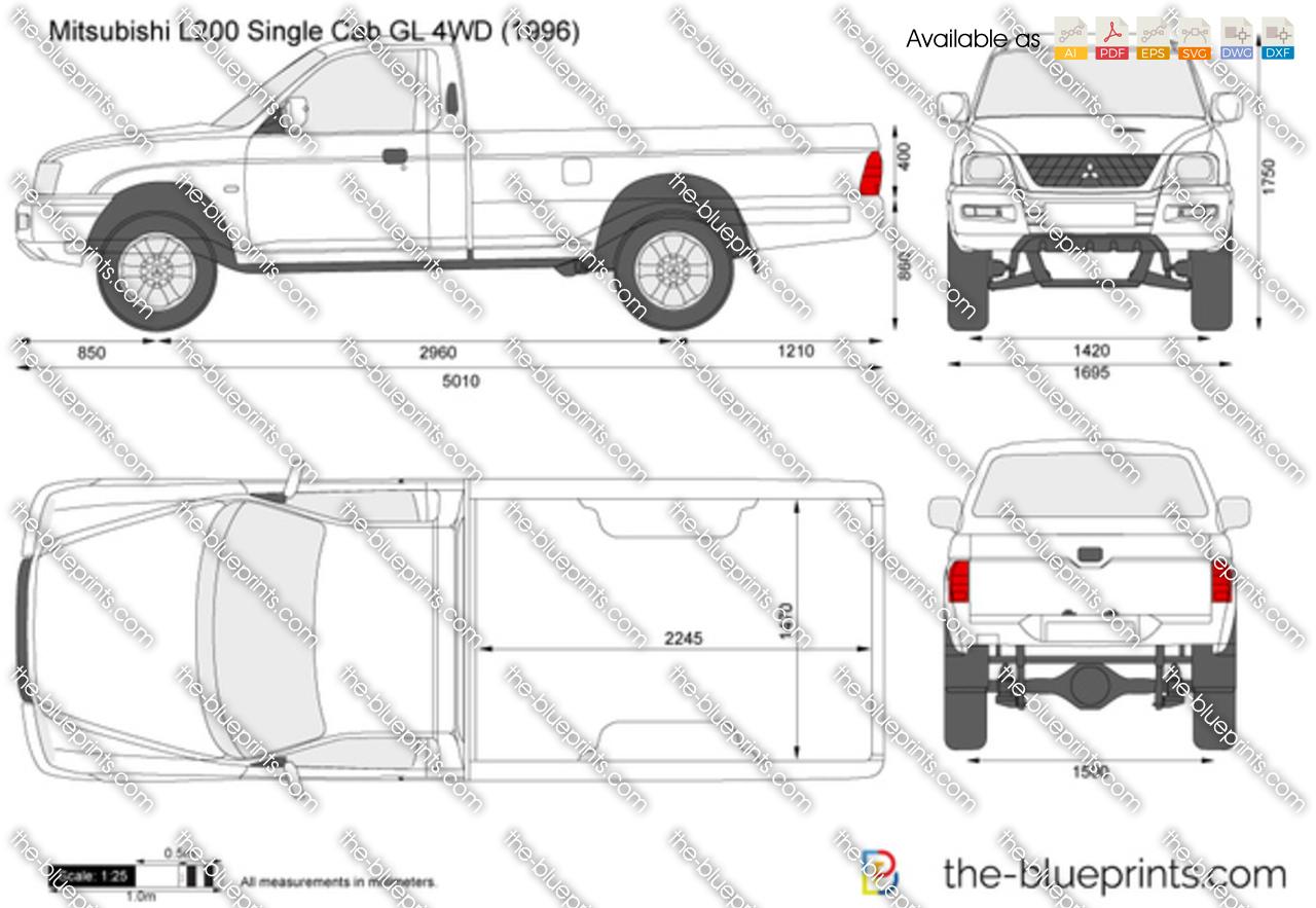 Mitsubishi L200 Single Cab Gl 4wd Vector Drawing