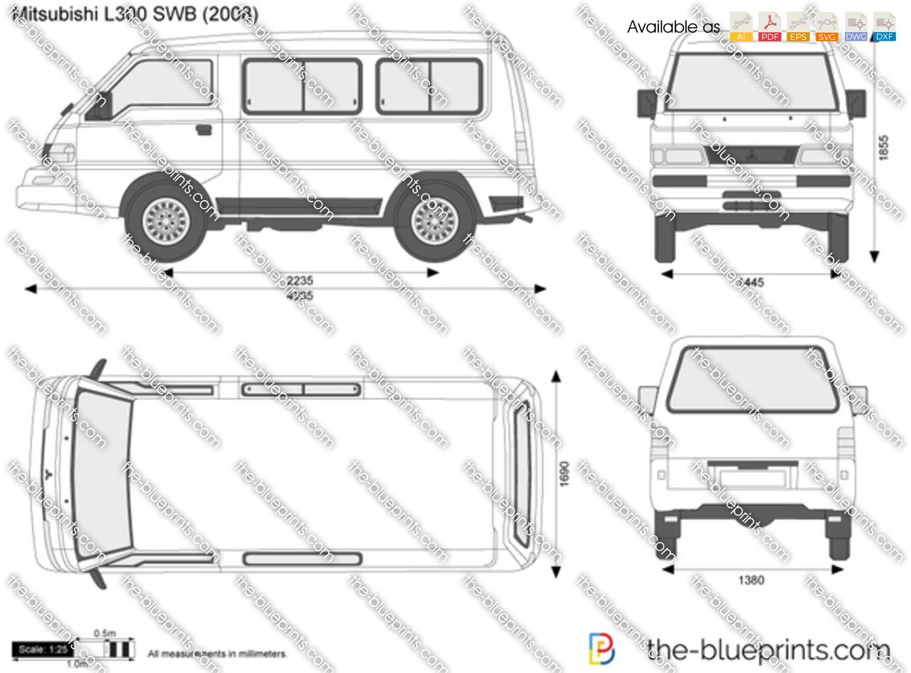 Mitsubishi L300 SWB vector drawing