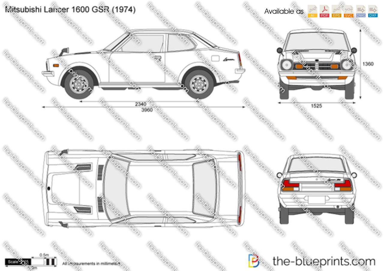 Mitsubishi Lancer 1600 GSR vector drawing
