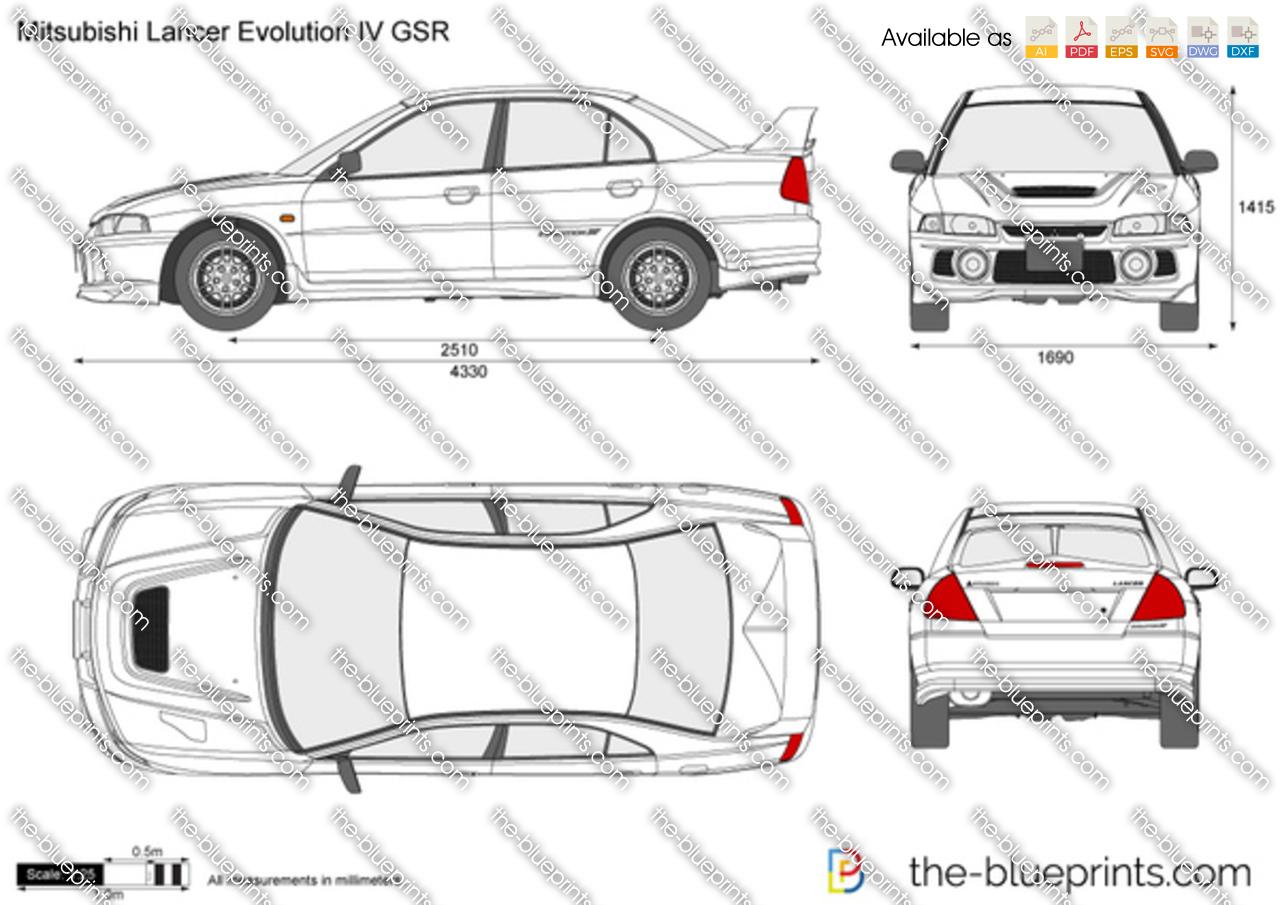 Mitsubishi Lancer Evolution IV vector drawing