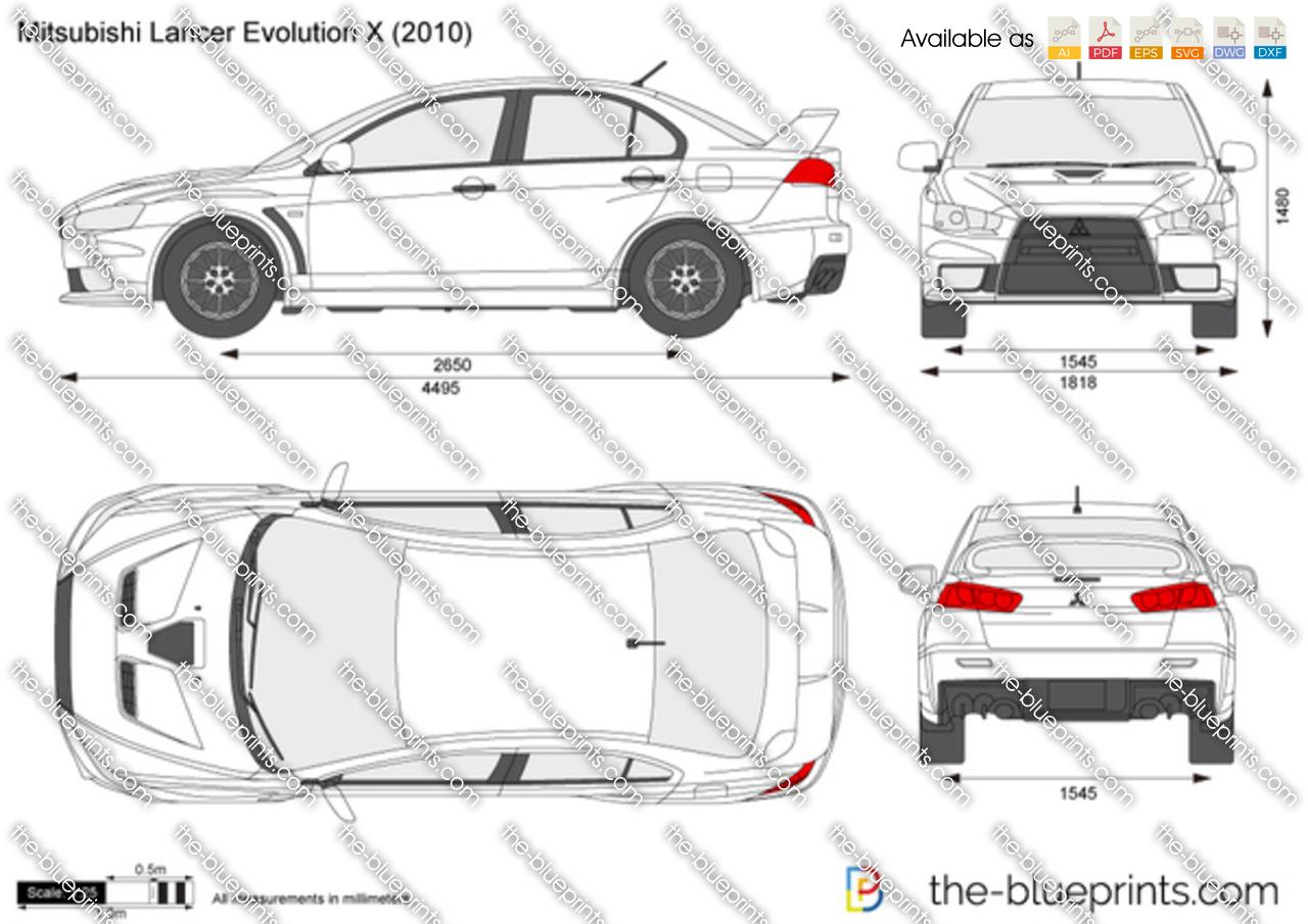 Mitsubishi Lancer Evolution X vector drawing