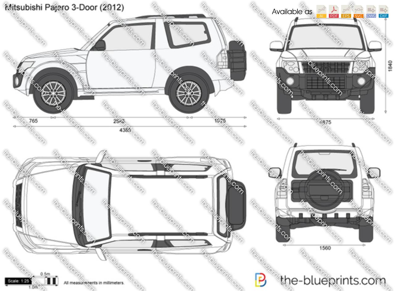 Mitsubishi Pajero 3-Door vector drawing