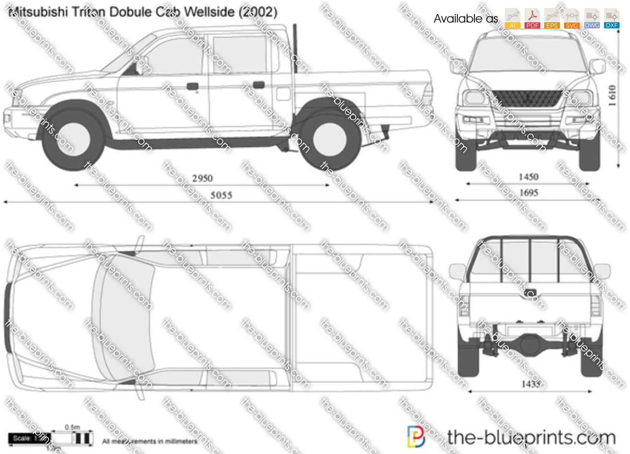 Mitsubishi Triton Double Cab Wellside vector drawing