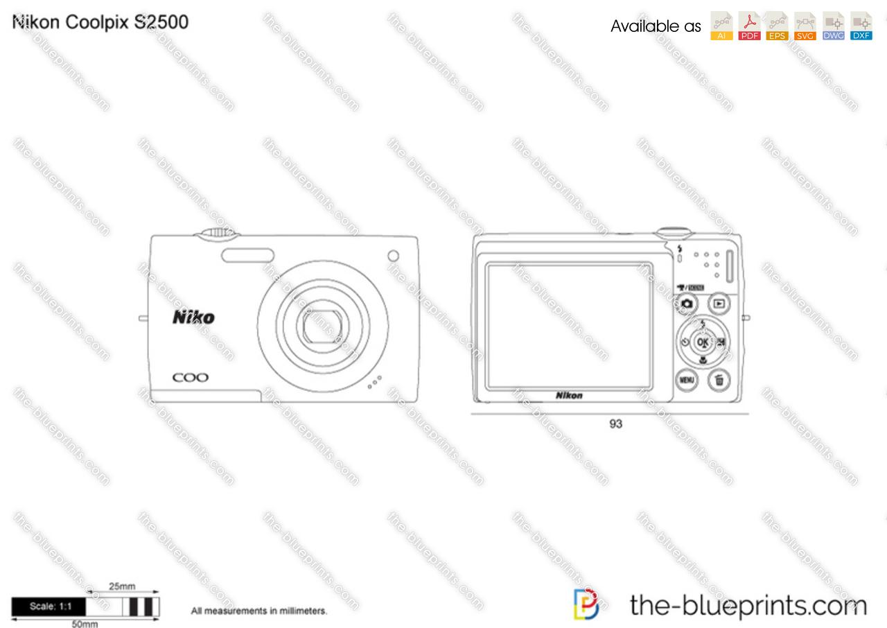 Nikon Coolpix S2500 vector drawing