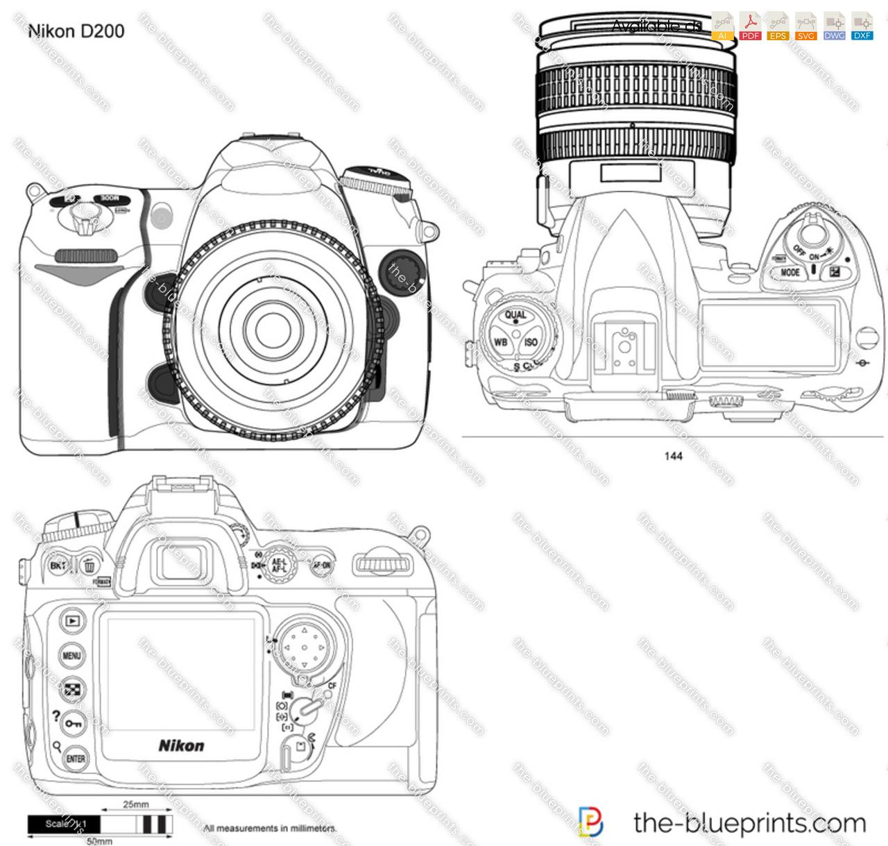 Nikon D200 vector drawing