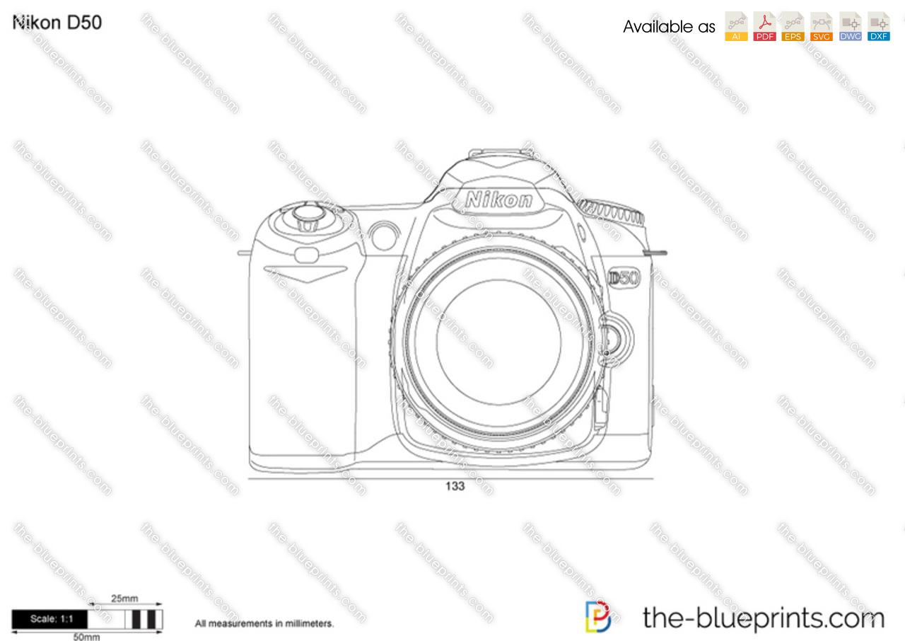 Nikon D50 vector drawing