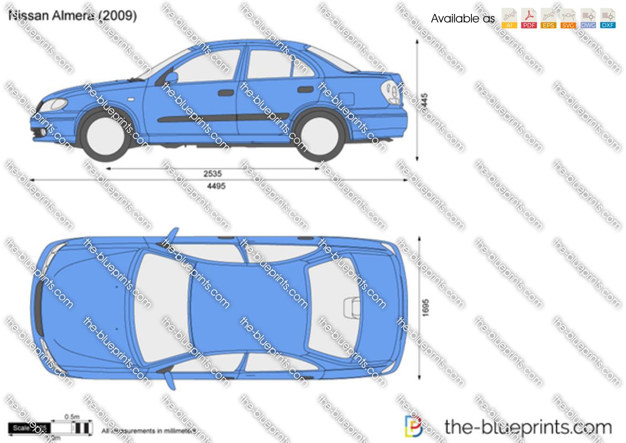 Nissan Almera Vector Drawing