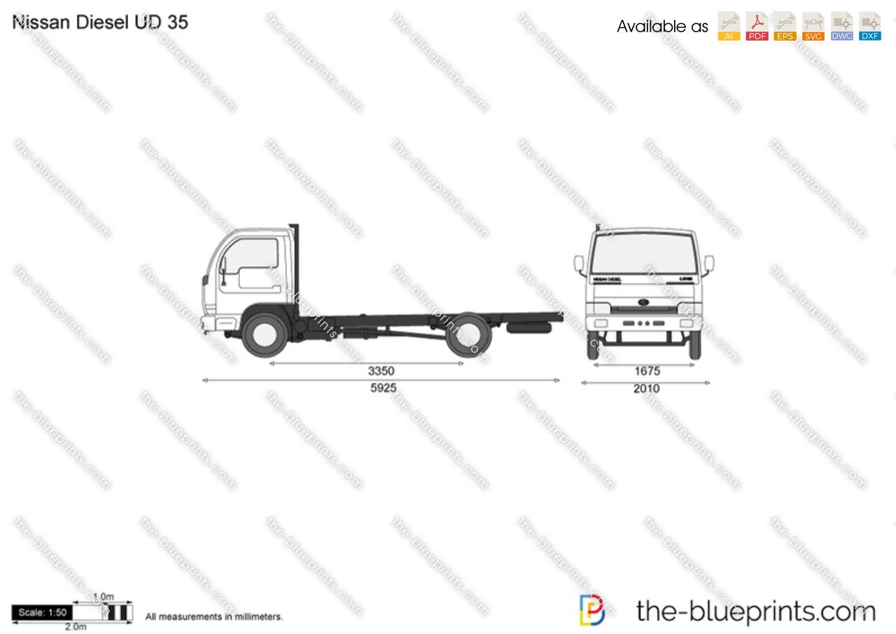 Nissan Diesel UD 35 vector drawing