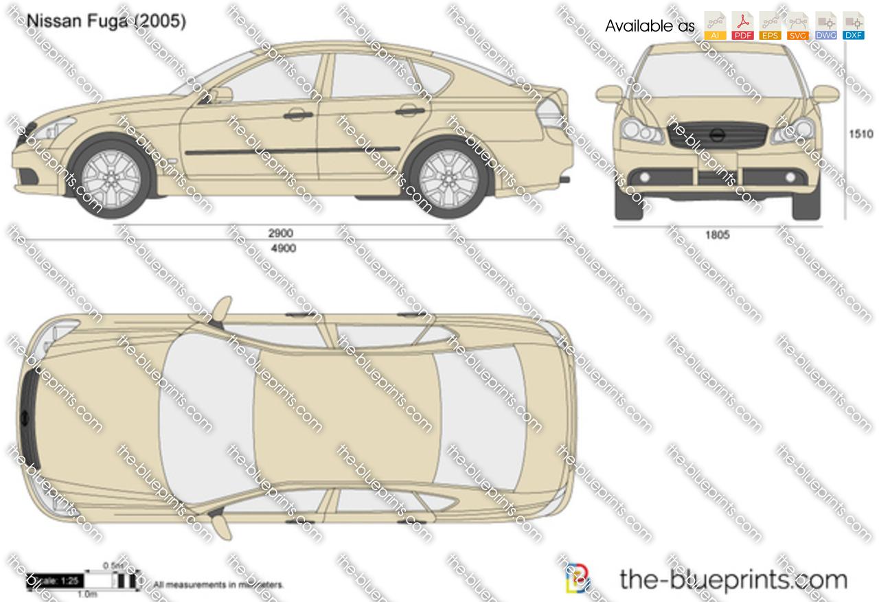 Nissan Fuga Vector Drawing
