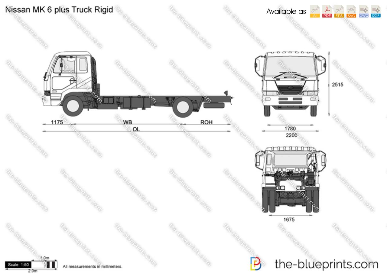 Nissan MK 6 plus Truck Rigid vector drawing